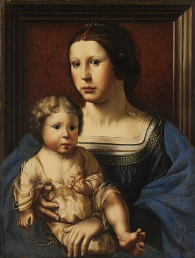 Virgin and Child Copy after Jan Gossart (Netherlandish, c. 1522) Oil on wood; Overall 17 7/8 x 13 5/8 in. (45.4 x 34.6 cm), painted surface 17 1/4 x 13 in. (43.8 x 33 cm)